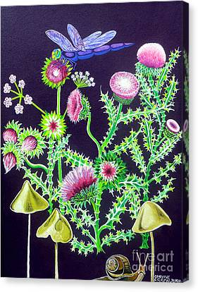 Dragonfly Thistle And Snail Canvas Print