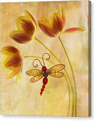 Dragonfly Tulips Canvas Print by Rebecca Cozart