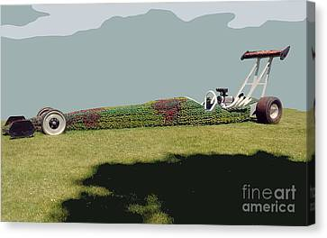 Canvas Print featuring the photograph Dragster Flower Bed by Bill Thomson