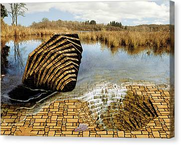 Canvas Print featuring the painting Drain - Mendon Ponds by Peter J Sucy