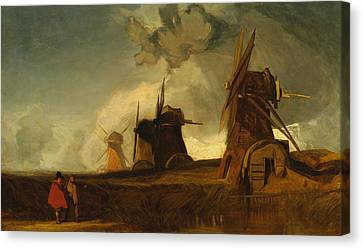 Drainage Mills In The Fens, Croyland, Lincolnshire Canvas Print by John Sell Cotman