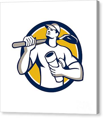 Drainlayer Holding Pipe Shovel Circle Retro Canvas Print