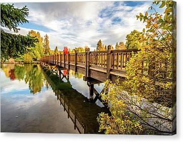Drake Park Bridge Fall Bend Oregon Canvas Print