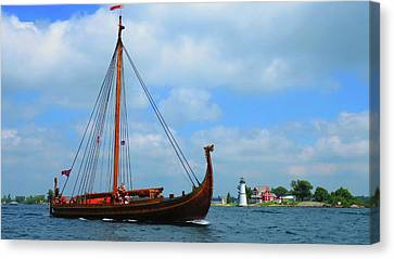 The Draken Passing Rock Island Canvas Print