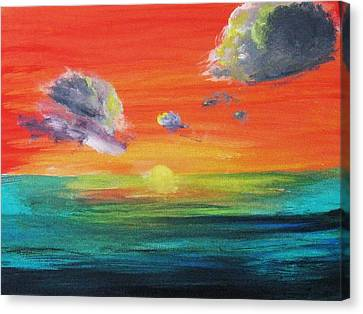 Canvas Print featuring the painting Drama In The Skies by Trilby Cole