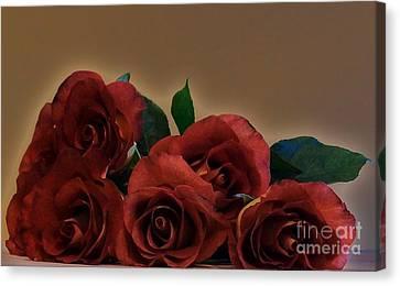Drama Roses Canvas Print by Marsha Heiken
