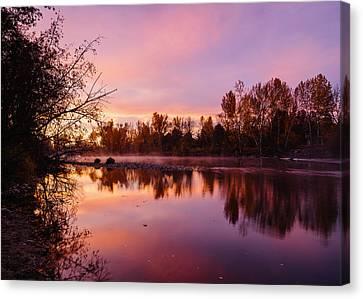 Reflections Of Sun In Water Canvas Print - Dramatic Autumn Sunrise Along Boise River Boise Idaho by Vishwanath Bhat