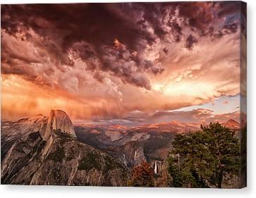 Dramatic Cloud Formation Half Dome Canvas Print