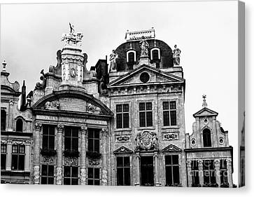 The Grand Place Canvas Print - Dramatic Grand Place Building Black And White by Carol Groenen