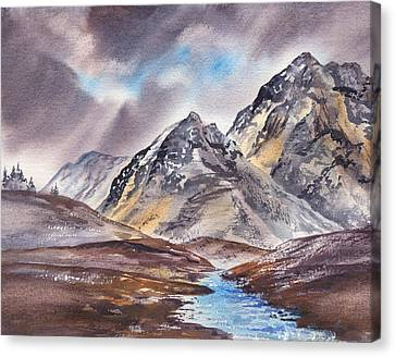 Dramatic Landscape With Mountains Canvas Print