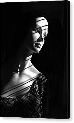 Canvas Print featuring the photograph Dramatic Lucy In Black And White by Nareeta Martin