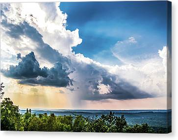 Canvas Print featuring the photograph Dramatic Sunrays Over The Valley by Shelby Young