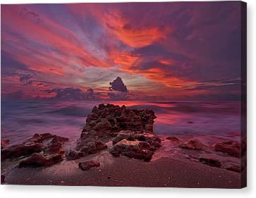 Dramatic Sunrise Over Coral Cove Beach In Jupiter Florida Canvas Print by Justin Kelefas