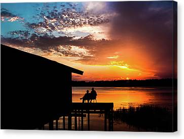 Dramatic Sunset On The Lake Canvas Print by Shelby  Young