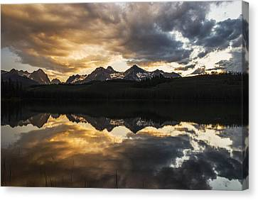 Reflections Of Nature Canvas Print - Dramatic Sunset Over Sawtooth Mountain Range In Stanley Idaho by Vishwanath Bhat