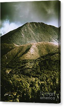 Dramatic View On Mount Zeehan Against Stormy Cloud Canvas Print