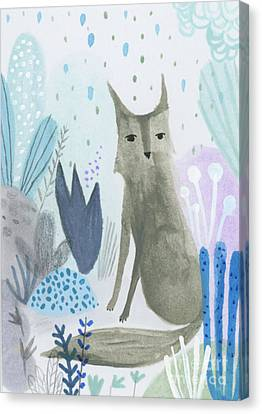 Dramatic Wolf In The Rain Canvas Print by Kate Cosgrove