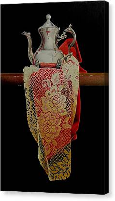David Hoque Canvas Print - Draped Tea Service  by David Hoque