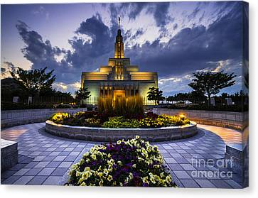 Draper Mormon Lds Temple - Utah Canvas Print by Gary Whitton