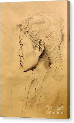 Drawing, Asian Portrait, Italian Renaissance Inspired By Michelangelo - Italian Renaissance Drawings Canvas Print
