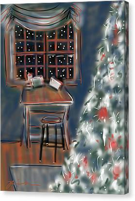 Canvas Print featuring the painting Drawing Board At Christmas by Jean Pacheco Ravinski