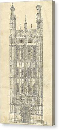 Drawing For The Houses Of Parliament Canvas Print by Sir Charles Barry