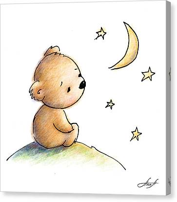 Drawing Of Cute Teddy Bear Watching The Star Canvas Print by Anna Abramska