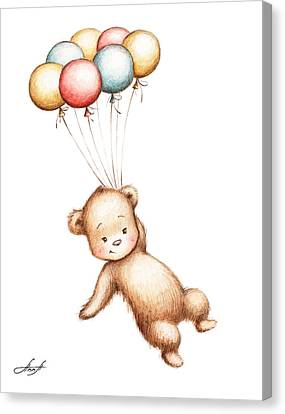 Drawing Of Teddy Bear Flying With Balloons Canvas Print by Anna Abramska