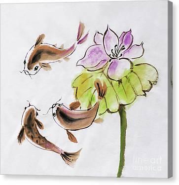 Drawing On Rice Paper Canvas Print by Alla Kolerskaya