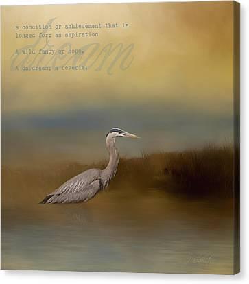 Dream - Blue Heron Art Canvas Print by Jordan Blackstone