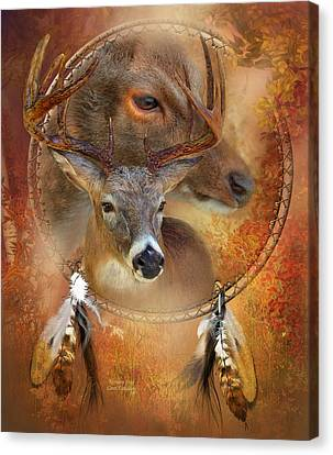 Dream Catcher - Autumn Deer Canvas Print by Carol Cavalaris