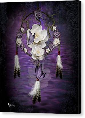 Dream Catcher Purple Flowers Canvas Print