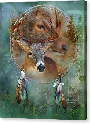 Dream Catcher - Spirit Of The Deer Canvas Print by Carol Cavalaris