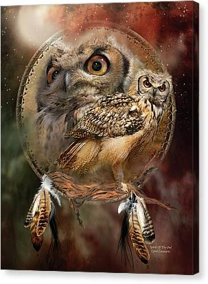 Canvas Print featuring the mixed media Dream Catcher - Spirit Of The Owl by Carol Cavalaris