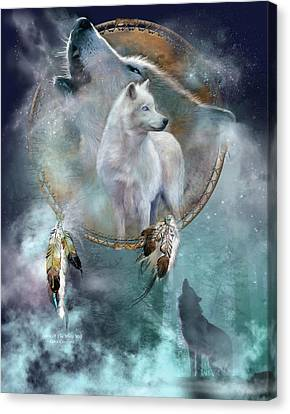 Dream Catcher - Spirit Of The White Wolf Canvas Print by Carol Cavalaris