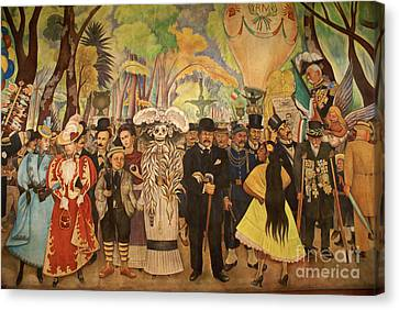 Dream In The Alameda Diego Rivera Mexico City Canvas Print by John  Mitchell