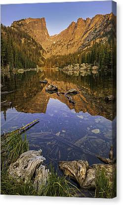 Mountain Reflection Lake Summit Mirror Canvas Print - Dream Lake Moments by Expressive Landscapes Fine Art Photography by Thom