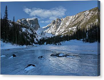 Canvas Print featuring the photograph Dream Lake Morning by Aaron Spong