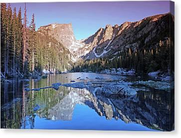 Mountain Reflection Lake Summit Mirror Canvas Print - Dream Lake Sunrise by Brian Kerls