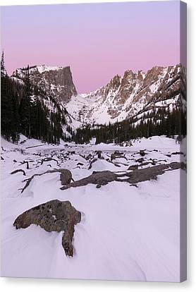 Canvas Print featuring the photograph Dream Lake Winter Vertical by Aaron Spong