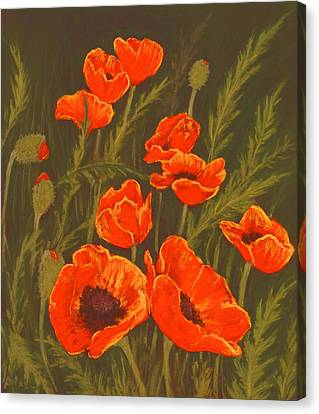 Canvas Print featuring the painting Dream Of Poppies by Anastasiya Malakhova