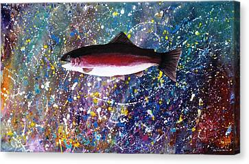 Dream Of The Rainbow Trout Canvas Print by Lee Pantas