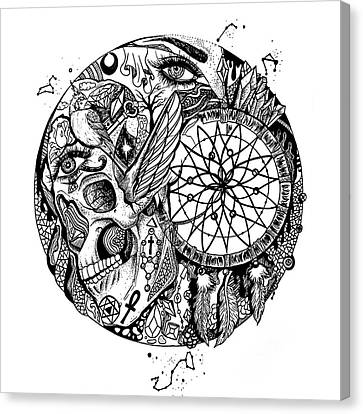 Dreamcatcher Circle Drawing No. 1 Canvas Print