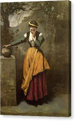 Dreamer At The Fountain Canvas Print by Jean Baptiste Camille Corot