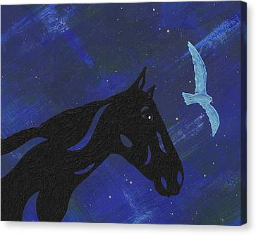 Canvas Print featuring the painting Dreaming Horse by Manuel Sueess
