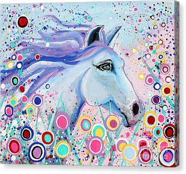 Horse Art Canvas Print - Dreaming In Color Whimsical Horse Art By Valentina Miletic by Valentina Miletic