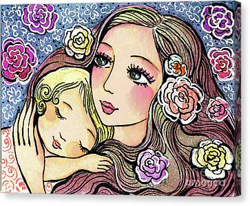Canvas Print featuring the painting Dreaming In Roses by Eva Campbell