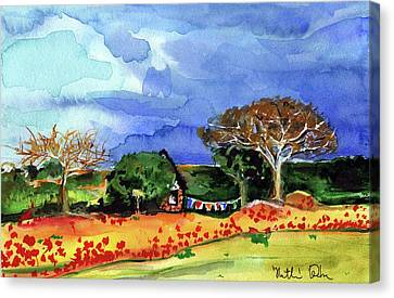 Canvas Print featuring the painting Dreaming Of Malawi by Dora Hathazi Mendes