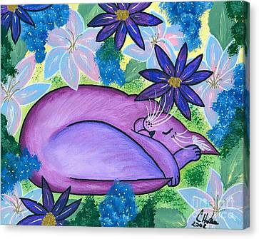 Dreaming Sleeping Purple Cat Canvas Print by Carrie Hawks