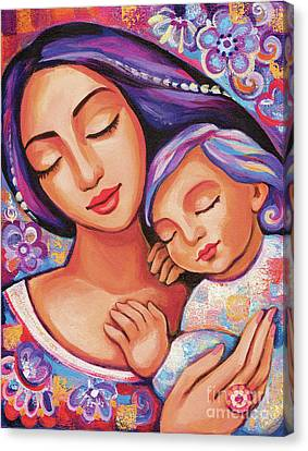 Canvas Print featuring the painting Dreaming Together by Eva Campbell